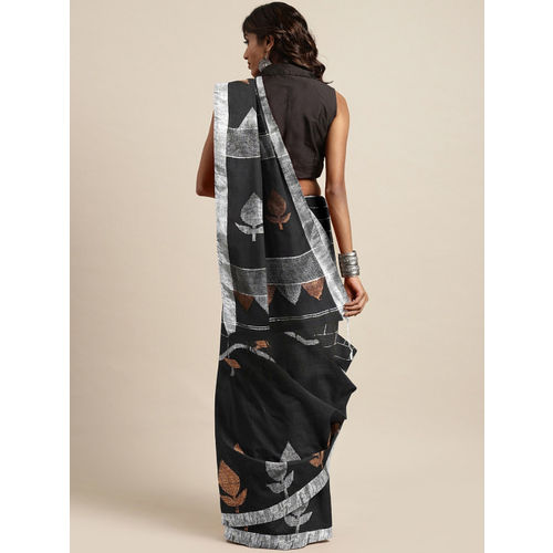 Mitera Black & Silver Woven Design Jamdani Saree