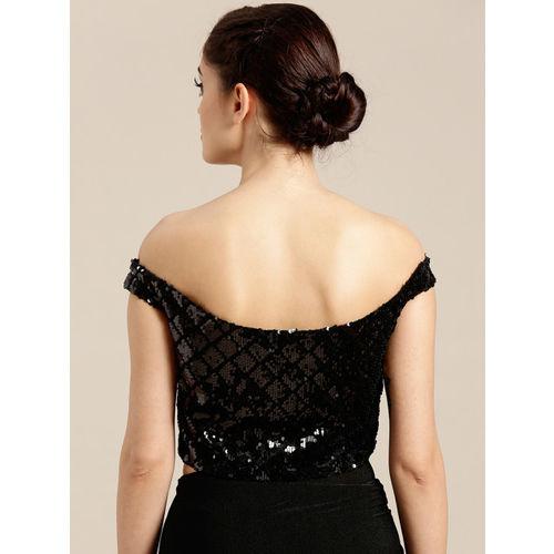 Mitera Black Embellished Poly Georgette Saree