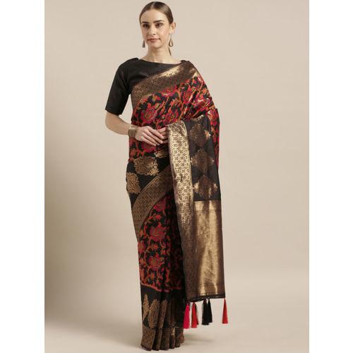 Mitera Black & Gold-Toned Silk Blend Woven Design Banarasi Saree