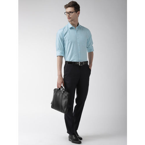 Park Avenue Men Turquoise Blue Slim Fit Self Design Formal Shirt