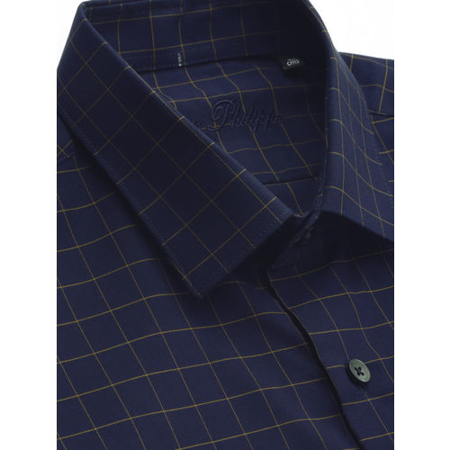 Louis Philippe Men Navy Blue & Brown Slim Fit Checked Formal Shirt