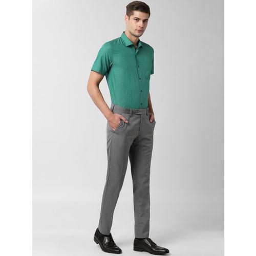 Peter England Men Green Slim Fit Checked Formal Shirt