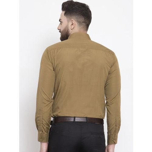 English Navy Men Khaki Slim Fit Solid Formal Shirt