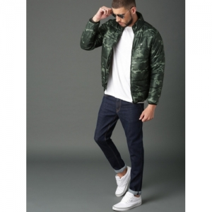 Roadster Olive Green Camouflage-Printed Puffer Jacket