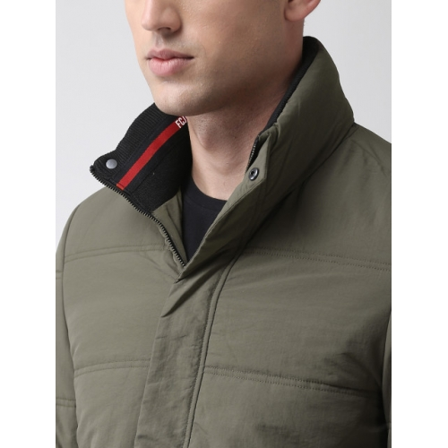 Fort Collins Olive Green Polyester Solid Bomber Padded Jacket