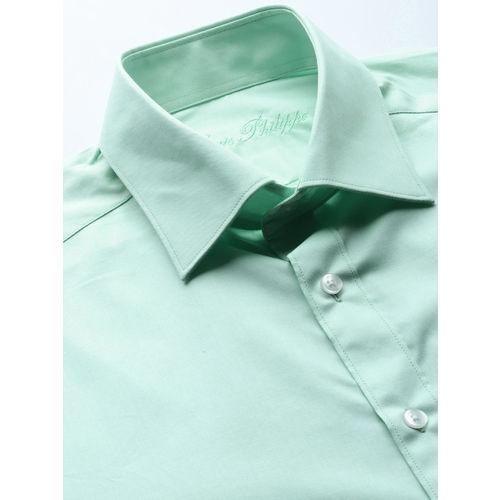 Louis Philippe Men Green Classic Regular Fit Solid Formal Shirt