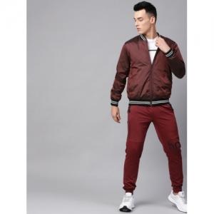 HRX by Hrithik Roshan Maroon Nylon Solid Varsity Jacket