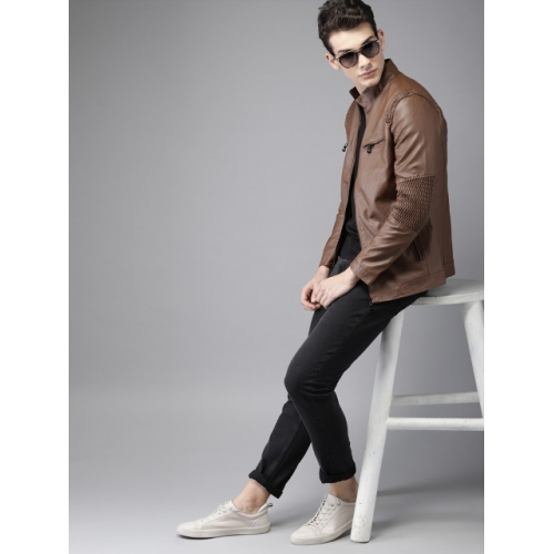 HERE&NOW Brown Solid Biker Jacket