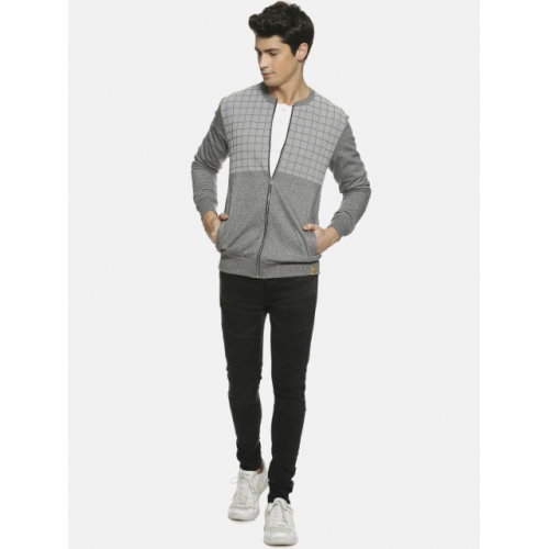 Campus Sutra  Grey Checked Bomber Jacket