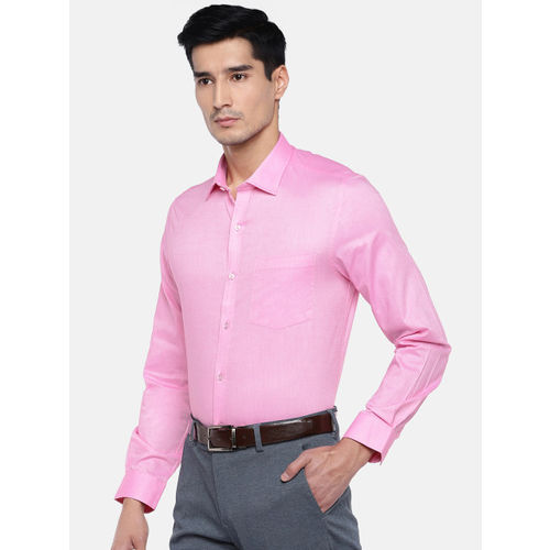 Turtle Men Pink Relaxed Slim Fit Solid Formal Shirt