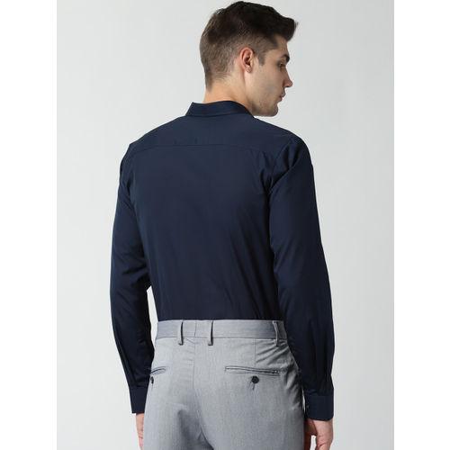 Peter England Men Navy Blue Slim Fit Solid Formal Shirt