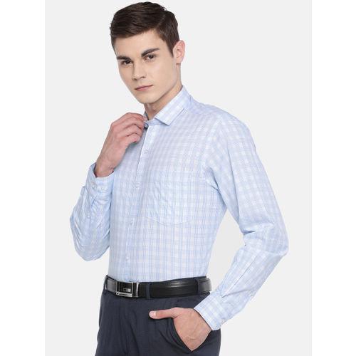 John Players Men Blue & White Regular Fit Checked Formal Shirt