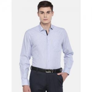John Players Men Blue Slim Fit Checked Enriched Cotton Formal Shirt
