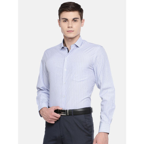 John Players Men Blue Slim Fit Checked Enriched Cotton Formal Shirt