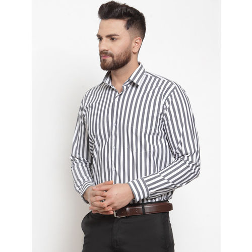 Hancock Men Grey & White Slim Fit Striped Formal Shirt