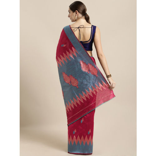 Saree Swarg Pink Silk Blend Woven Design Banarasi Saree