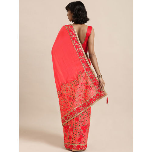 Mitera Pink & Gold-Toned Poly Silk Embroidered Saree