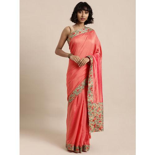 Mitera Pink Solid Poly Silk Saree