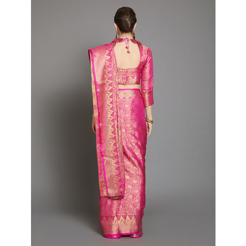 Mitera Pink & Gold-Coloured Silk Blend Woven Design Banarasi Saree