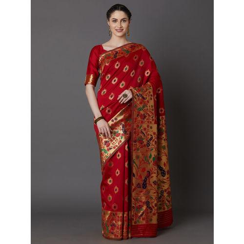 Mitera Red & Black Silk Blend Woven Design Banarasi Saree