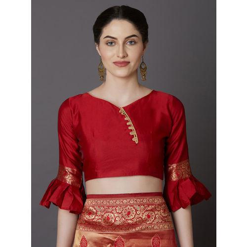 Mitera Red & Gold-Coloured Silk Blend Woven Design Kanjeevaram Saree