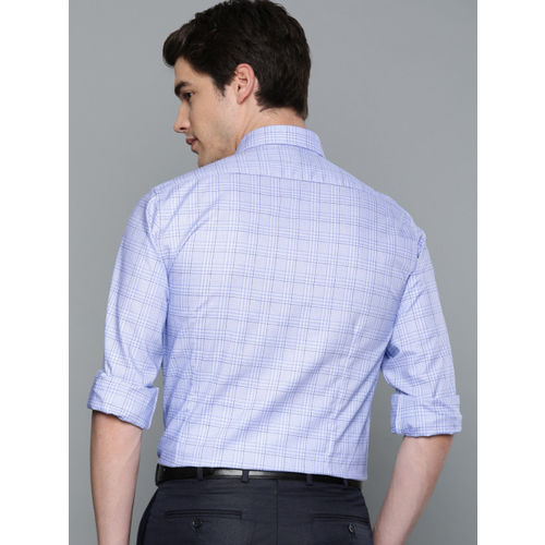 Louis Philippe Men Blue & White Slim Fit Checked Formal Shirt