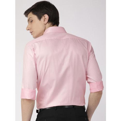 Raymond Men Pink Slim Fit Self Striped Formal Shirt