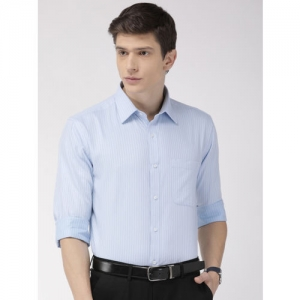 Raymond Men Blue Slim Fit Self Striped Formal Shirt