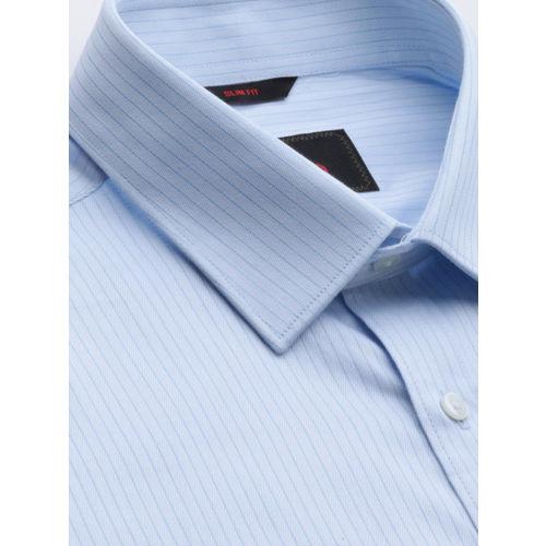 Raymond Men Blue Slim Fit Self Striped Formal Shirt