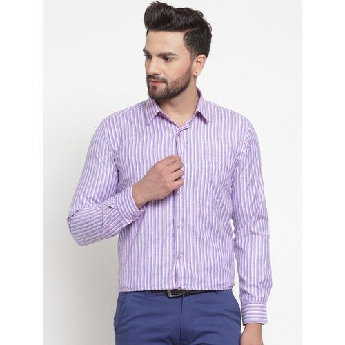 English Navy Men Blue & Purple Slim Fit Striped Formal Shirt