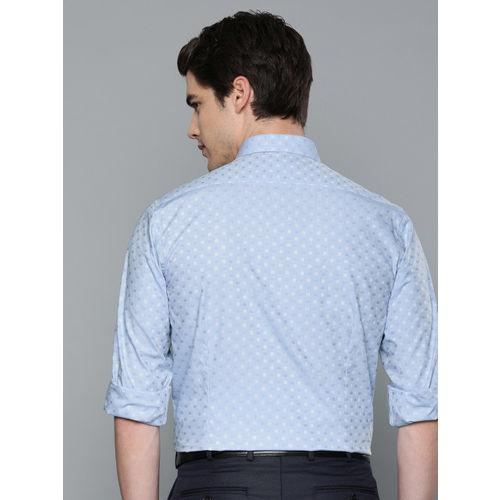 Louis Philippe Men Blue & White Slim Fit Self Design Formal Shirt