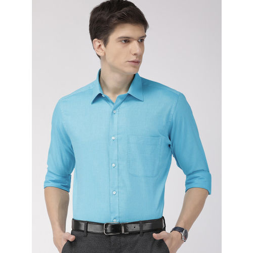 Raymond Men Turquoise Blue Slim Fit Solid Formal Shirt