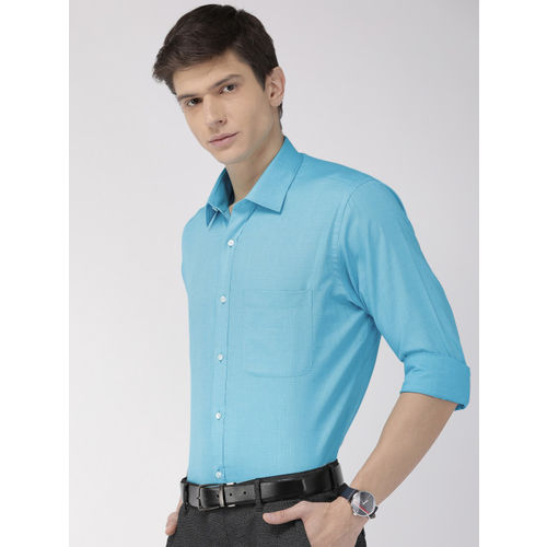 Raymond Men Turquoise Blue Slim Fit Solid Formal Shirt