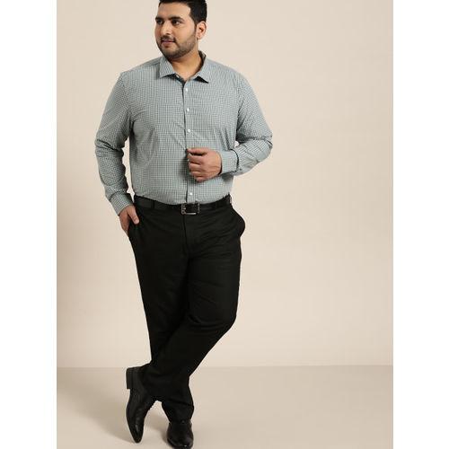 Sztori Men Green & White Regular Fit Checked Formal Shirt