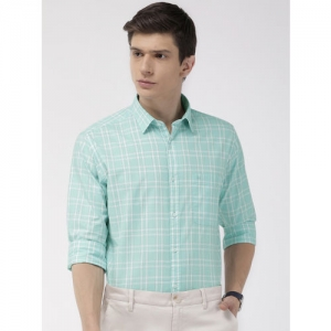 Raymond Men Turquoise Blue & White Slim Fit Checked Formal Shirt