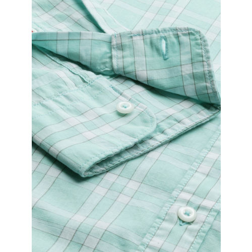 Raymond Men Turquoise Blue & White Slim Fit Checked Formal Shirt