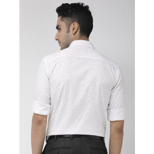 Park Avenue Men White & Blue Slim Fit Printed Formal Shirt