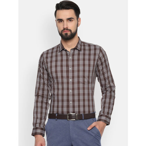 Van Heusen Men Brown & White Slim Fit Checked Formal Shirt