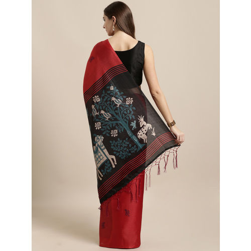 GoSriKi Red Art Silk Woven Design Khadi Saree