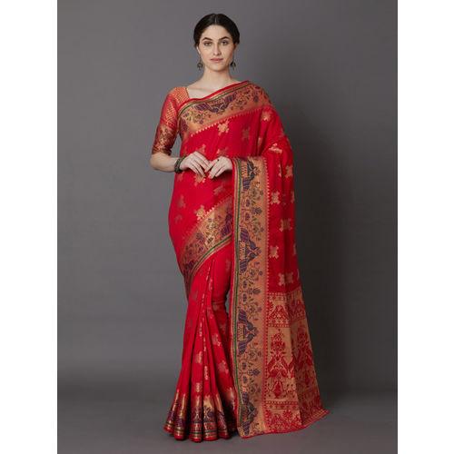 Mitera Red & Gold-Toned Silk Blend Woven Design Banarasi Saree
