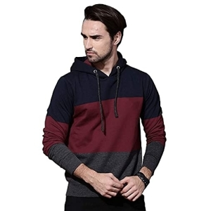 Veirdo Cotton Multicolour Colourblock Long Sleeve Hoodie Sweatshirts