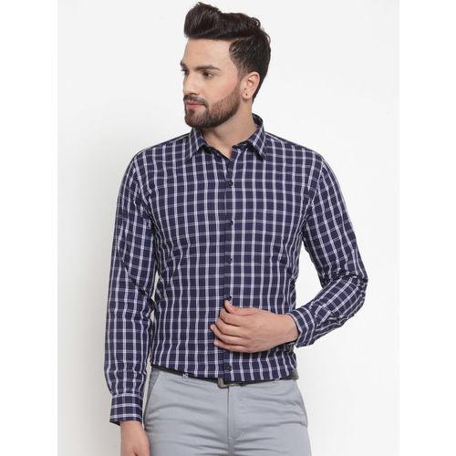Hancock Men Navy Blue & White Slim Fit Checked Formal Shirt