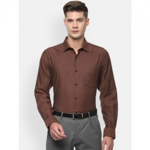 Van Heusen Men Brown Regular Fit Solid Formal Shirt