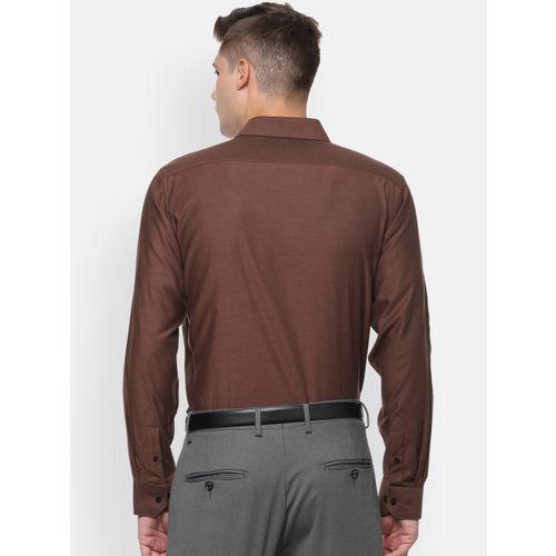 Van Heusen Men Brown Regular Fit Solid Formal Shirt