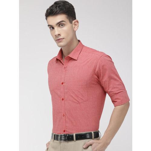 Park Avenue Men Coral Red Slim Fit Solid Formal Shirt