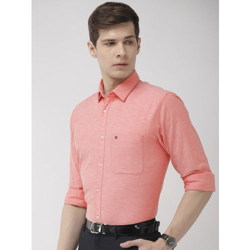 Raymond Men Coral Red Slim Fit Solid Formal Shirt