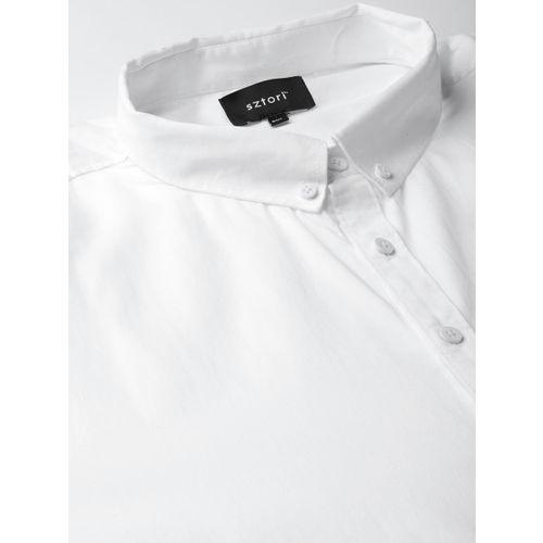 Sztori Men White Regular Fit Solid Formal Shirt