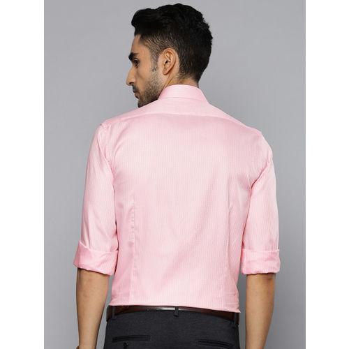Louis Philippe Men Pink & White Slim Fit Self Striped Formal Shirt