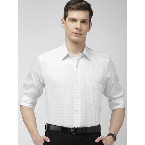 Arrow Men White & Green Regular Fit Self Checked Formal Shirt
