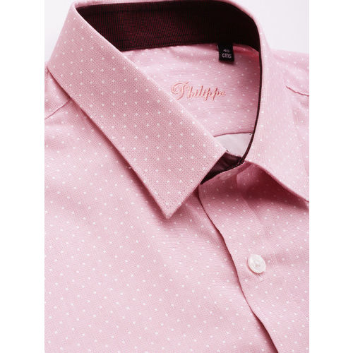 Louis Philippe Men Pink & White Slim Fit Printed Formal Shirt